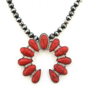 Jewelry - Red Turquoise Squash Blossom Navajo Pearl Necklace